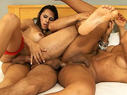Yasmin and wanessa. Two transsexuals and a guy in a hot threesome